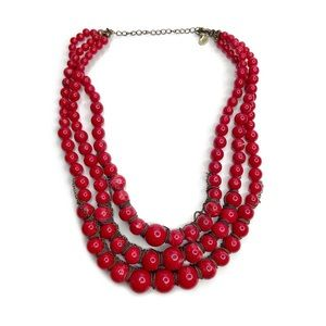 Cookie Lee Red 3 Strand Graduated Beaded Necklace